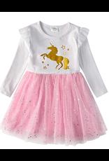 Robe blanche et rose a tutu avec licorne doré (7-8 ans)