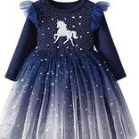 La Licornerie Robe licorne étoilée marine (5-6 ans)