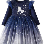 La Licornerie Star-studded navy unicorn dress (5-6 years)