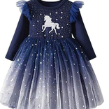 Robe licorne étoilée marine (7-8 ans)