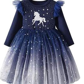La Licornerie Robe licorne étoilée marine (7-8 ans)