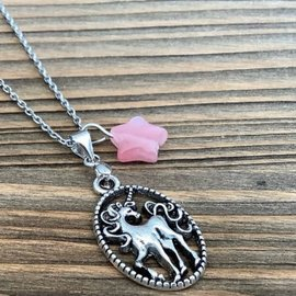 Pink Coconut Bling ♥♥ Unicorn stainless steel chain with pink charm