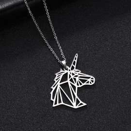 Geometric Profile Unicorn Necklace