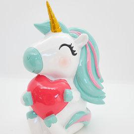 La Licornerie Tirelire licorne avec coeur