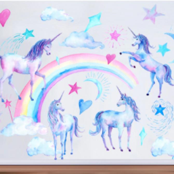 La Licornerie Auto-collant muraux licornes étoilées