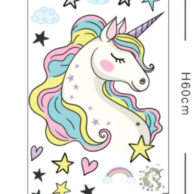 La Licornerie Giant self-sticker Unicorn, Hearts and Stars
