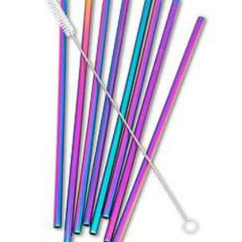 Ensemble de 8 pailles réutilisables et brosse iridescentes arc-en-ciel