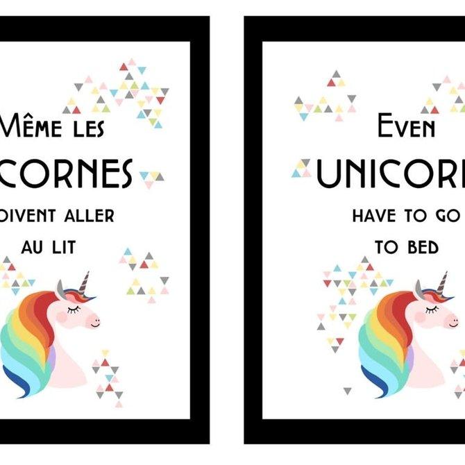 La Licornerie Reversible metal plate 25cm x 33cm Even unicorns have go to bed