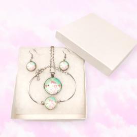Necklace, Earrings and Bracelet Unicorn Set
