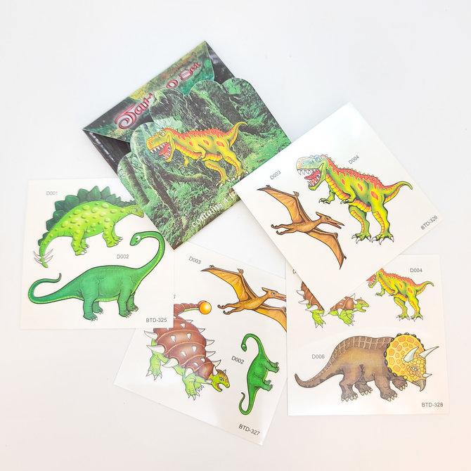 La Licornerie Ensemble de 4 feuilles de tatouages Dinosaures