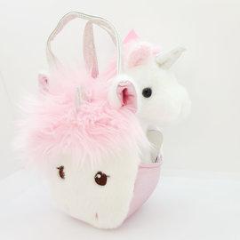 Small Handbag With Silky Mane Unicorn and a Small Unicorn Plush