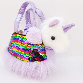 Small Handbag With Reversible Sequins And Small Unicorn Plush
