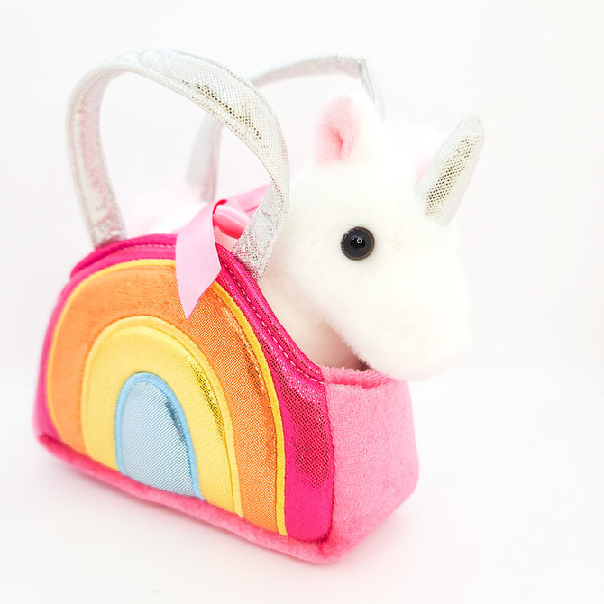 La Licornerie Small Rainbow Handbag With Unicorn Plush