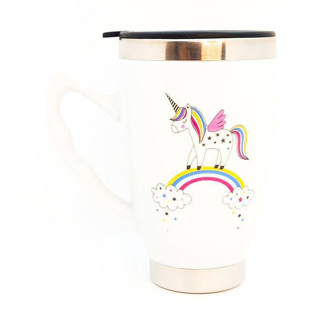 La Licornerie Thermos cup with unicorn lid on rainbow