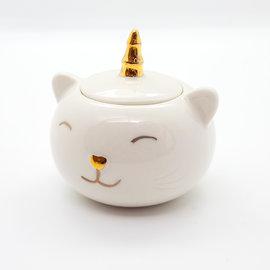 La Licornerie Boitier en céramique Chat-Licorne