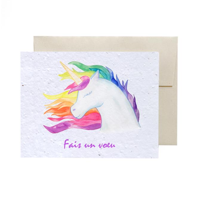 La Licornerie ♥♥ Carte (très) éco-responsable ensemencée Arc-en-Ciel