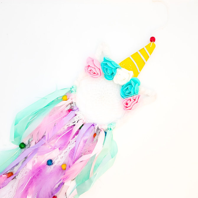 La Licornerie Unicorn Dreamcatcher with Pink Feathers