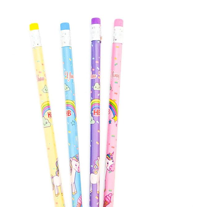 La Licornerie Ensemble de 4 crayons de bois Licorne 4 couleurs