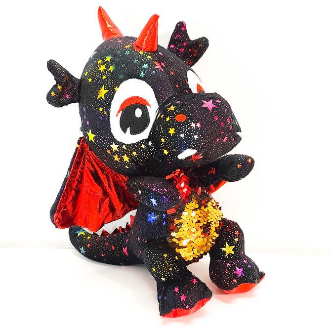 ♥♥ Toutou dragon noir étoilé avec ventre à paillettes réversibles
