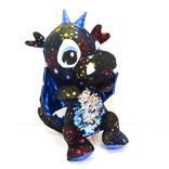 La Licornerie ♥♥ Toutou dragon noir étoilé avec ventre à paillettes réversibles