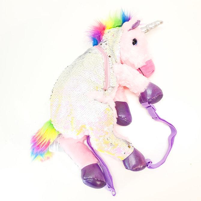 La Licornerie Unicorn Plush and Rainbow Glitters Backpack