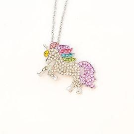 Collier licorne à cristaux arc-en-ciel