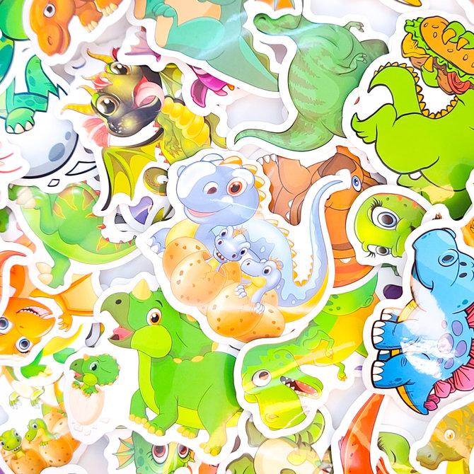 La Licornerie Paquet de 50 autocollants Dinosaures