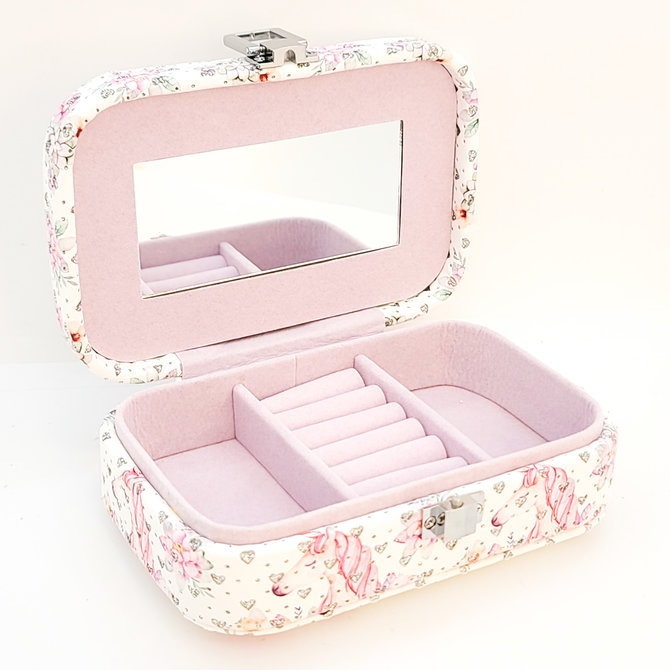Sophisticated unicorn jewelry box with sequins