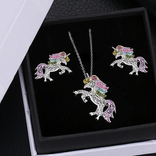 La Licornerie Crystal unicorn earrings and necklace