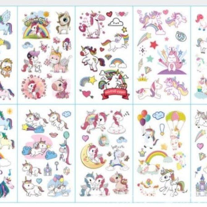La Licornerie Ensemble de 10 feuilles de tatouages temporaires licornesques