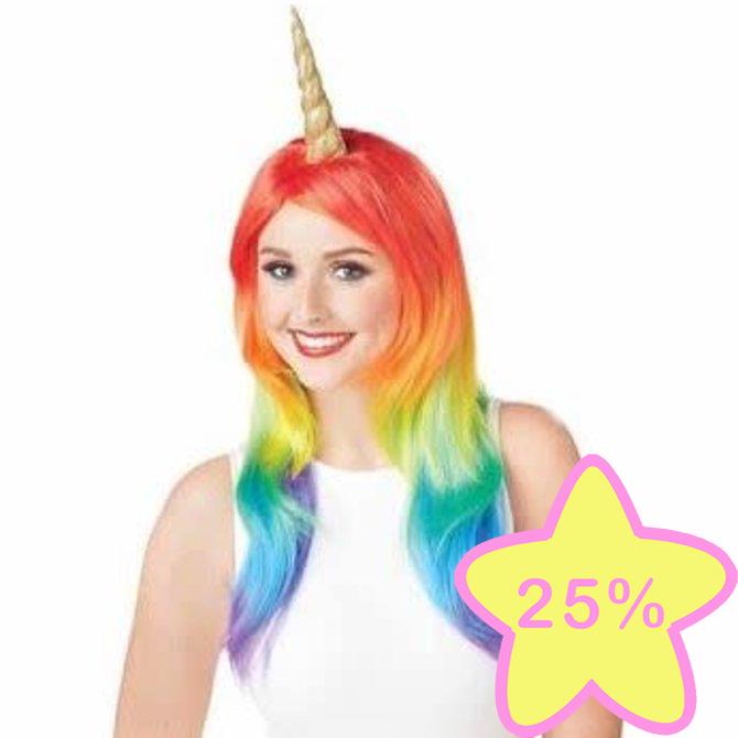 La Licornerie Perruque arc-en-ciel avec corne de licorne