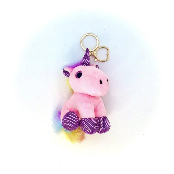 La Licornerie Pink plush unicorn key ring