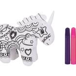 La Licornerie Peluche licorne debout à colorier avec 6 crayons