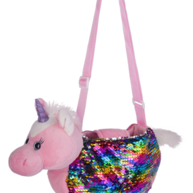 La Licornerie Handbag with soft toys and reversible sequins