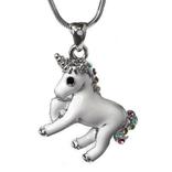 La Licornerie White unicorn pendant in Austrian crystal