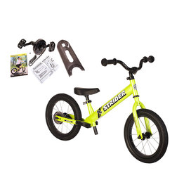 Strider Sports Strider 14x Sport Kids Balance Bike, Green, includes Easy-Ride Pedal Kit