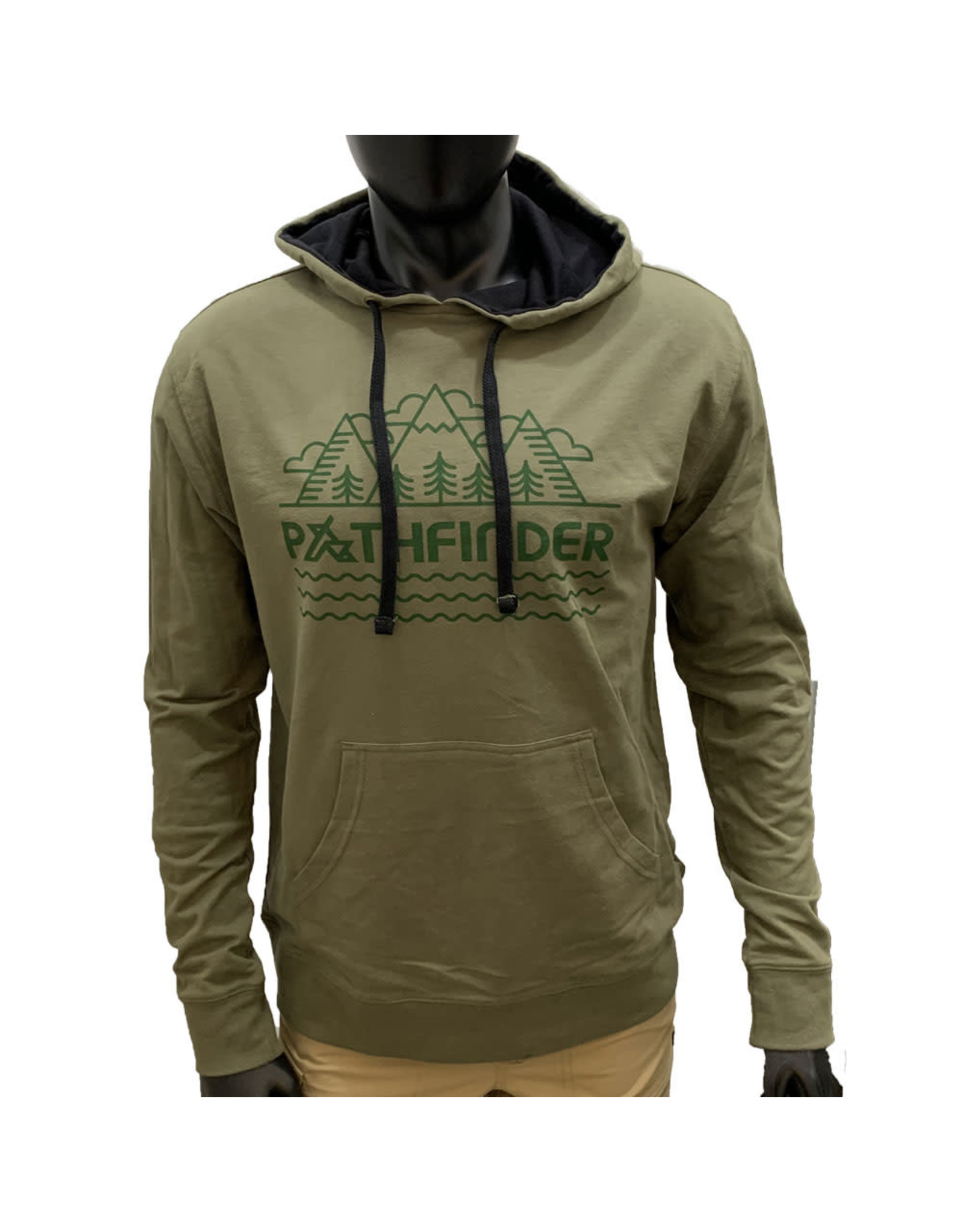 Pathfinder Linescape French Terry Hooded Pullover Military Green / Black