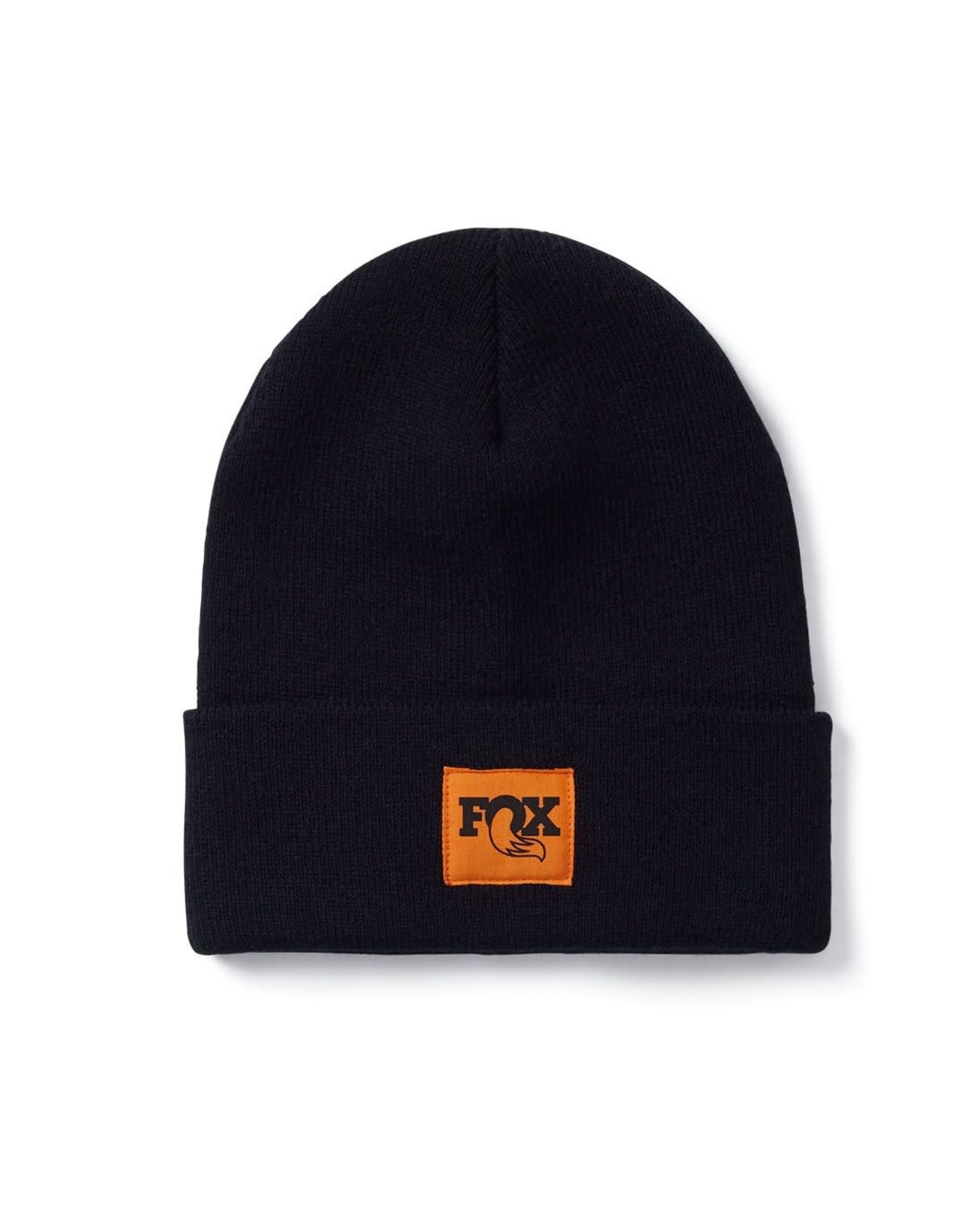 Tight Knit Fold Over Beanie-Black