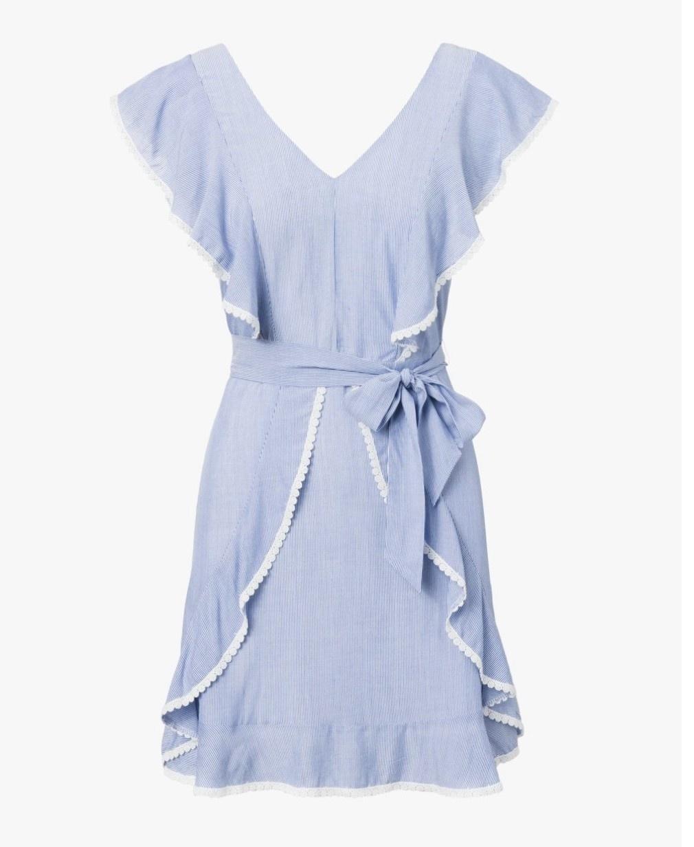 Cupcakes & Cashmere 'Mitzi' Yarn Ruffle Dress in blue stripe