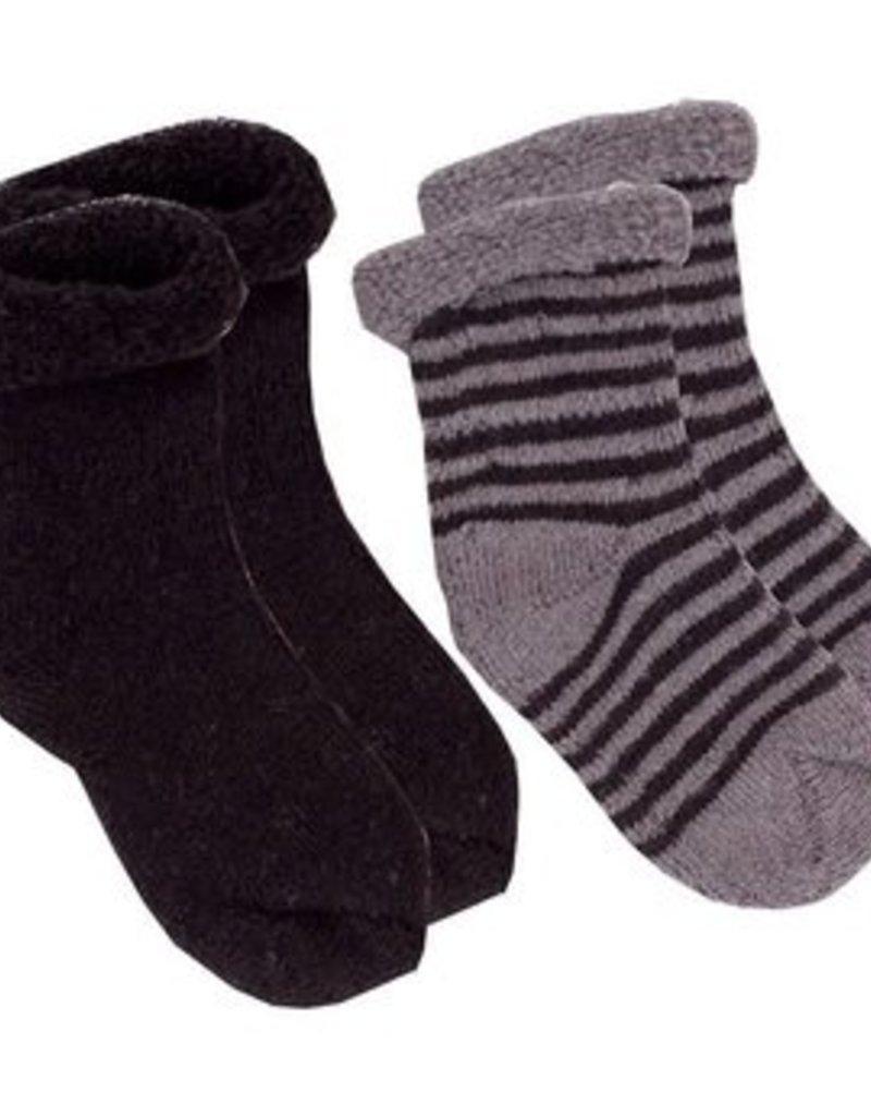 Chaussettes pour nouveau-né (2 paires) Noir/rayures