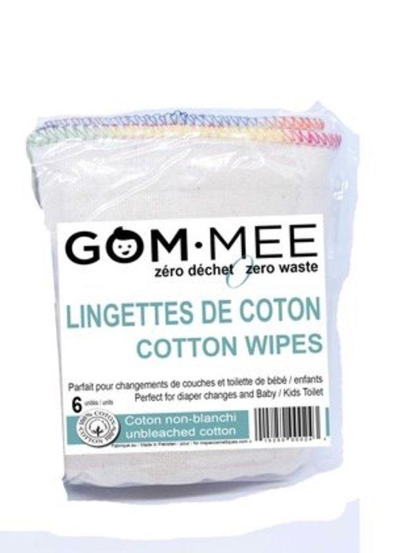 Lingettes (6) coton non blanchi
