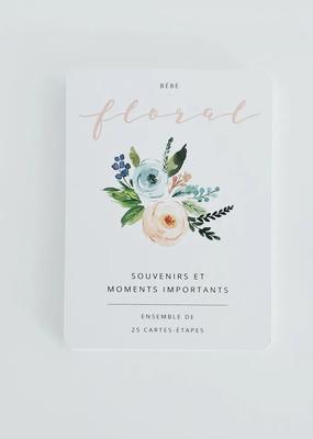 Carte-étape bébé floral