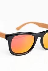 Lox Lion Lunettes solaires polarisées en bambou Noir et orange