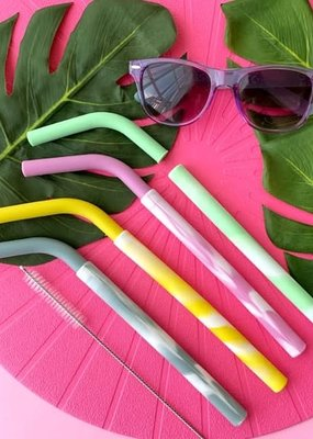 4 pailles silicone