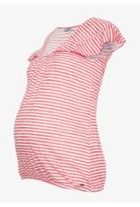 Haut maternité à volant rayures rouges