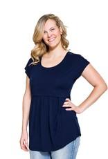 Haut maternité et allaitement détail à l'épaule Florence Bleu