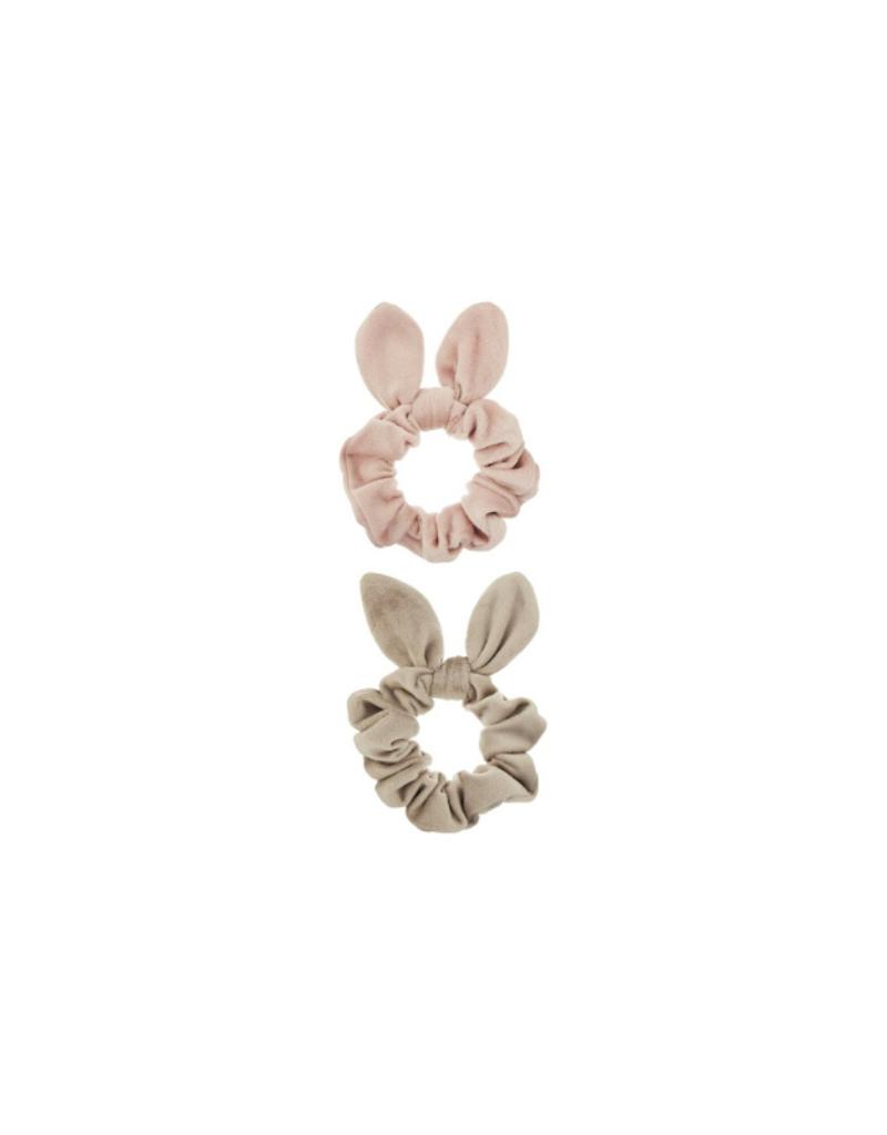 Scrunchie/Chouchou velours avoine et vieux rose