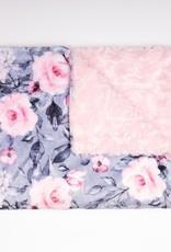 Doux Bécot Couverture minky 27 x 40 Fleurs grises