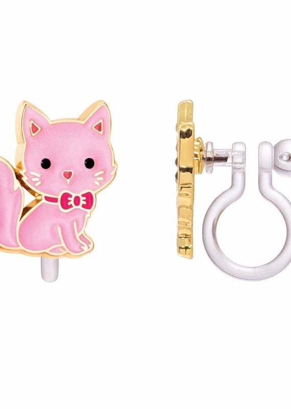 Boucle d'oreille à clip Chat rose