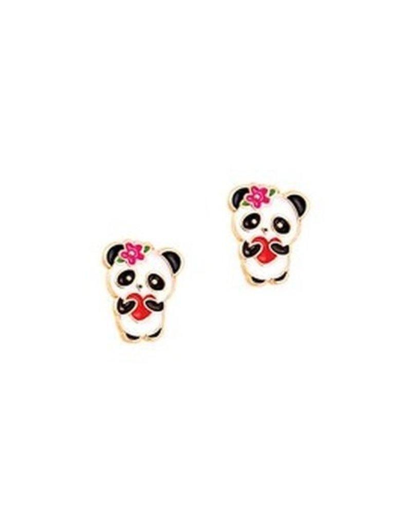 Boucle d'oreille à tige Panda avec coeur